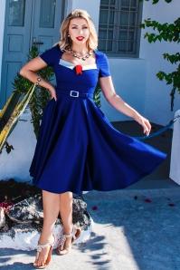 Glamour Bunny 28122 Ella Swing Dress in Royal Blue 20190715 021L