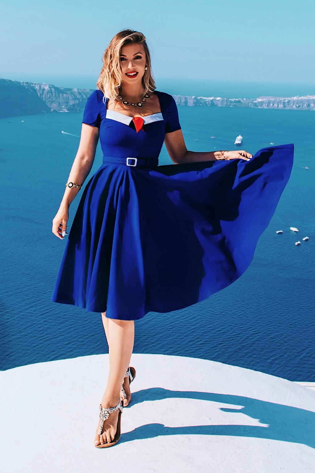 Vintage Cruise Outfits, Vacation Clothing 50s Ella Swing Dress in Royal Blue £72.37 AT vintagedancer.com