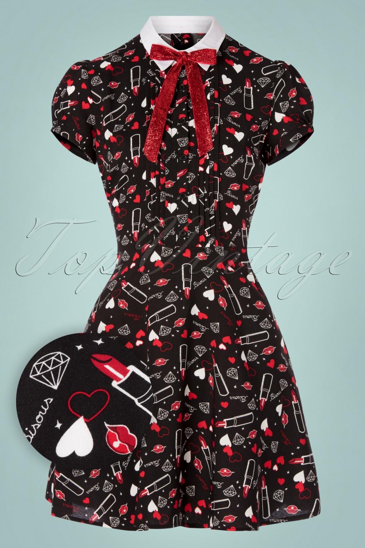 Valentines Day Dresses, Outfits, Lingerie | Red Dresses 60s Bisous Mini Dress in Black £32.78 AT vintagedancer.com