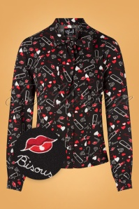 Bunny 60s Bisous Blouse in Black