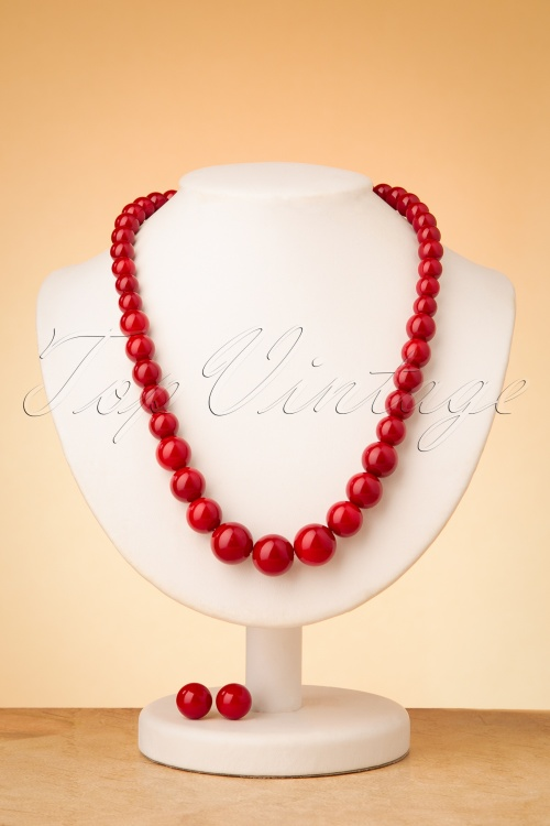 Collectif 30483 Necklace Set Burgundy 20190715 0014W