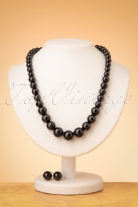 Collectif Clothing 50s Natalie Bead Necklace Set in Black