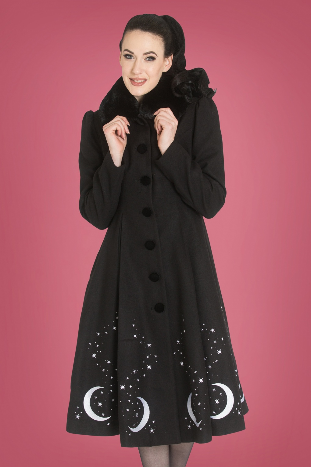 1950 Style Clothing- A Shopping Guide 50s Interstellar Coat in Black £187.13 AT vintagedancer.com