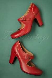 Miz Mooz Kansas Leather Mary Jane Pumps Années 40 en Rouge