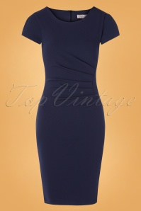 Bethany Pencil Dress Années 50 en Bleu Marine