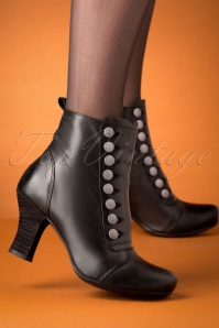 Kips Leather Ankle Booties Années 40 en Noir