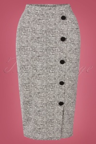 Carol Tweed Pencil Skirt Années 50 en Gris Mélangé
