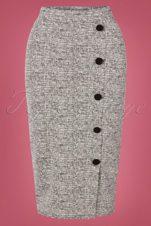 vintage Chic 31191 Pencilskirt Grey Buttons 20190716 0003W