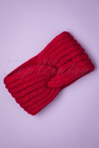 Collectif Clothing Lexy Knitted Headband Années 70 en Rouge