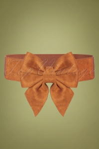 Collectif Clothing 50s Deanna Bow Belt in Tan