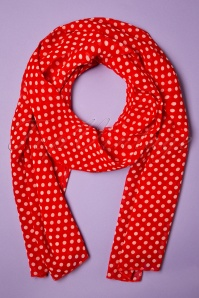 Collectif Clothing 50s Sammy Polkadot Scarf in Red and White