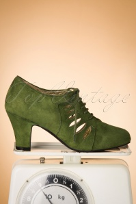 50s Ava All Tied Up Suede Pumps in Grass Green