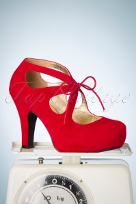 50s Angie Tie The Knot Suede Platform Pumps in Burned Red