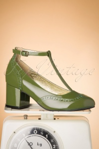 Eve Mad For Mod Block Heel Pumps Années 60 en Vert Gazon