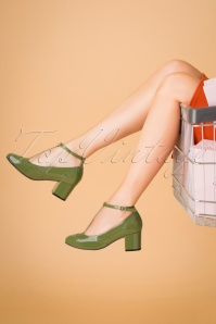 Topvintage Boutique Collection 30419 Eve Green Heels Lak Tstrap 20190703 023W