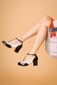 Eve Mad For Mod Block Heel Pumps Années 60 en Noir et Crème