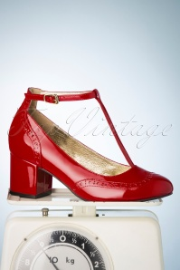 Lola Ramona ♥ TopVintage Eve Mad For Mod Block Heel Pumps Années 60 en Rouge Brulé