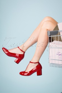 Topvintage Boutique Collection 30420 Shiny Red Heels Tstrap 20190703 016 W