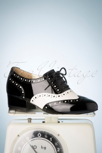 50s Alice Step Up Patent Brogues in Black and Cream