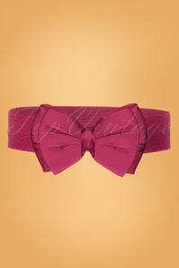 Collectif Clothing 50s Bella Bow Belt in Fuchsia