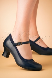 Tinka Leather Mary Jane Pumps Années 50 en Bleu Marine