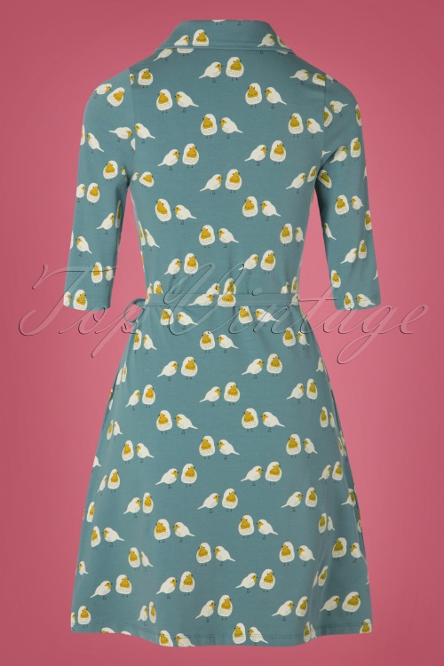 Eloise A 60s Dress In Sky Froyamp; Blue Dind Robin Line exBdoC