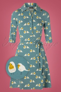 60s Eloise Robin A-Line Dress in Sky Blue