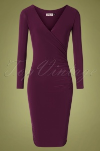 Serena Slinky Pencil Dress Années 50 en Aubergine