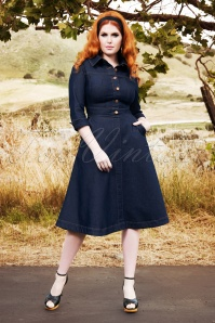 Lauren Denim Swing Dress Années 50 en Bleu de Prusse