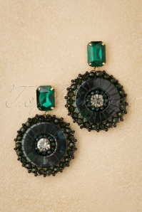 Karen Beads Earrings Années 50 en Vert
