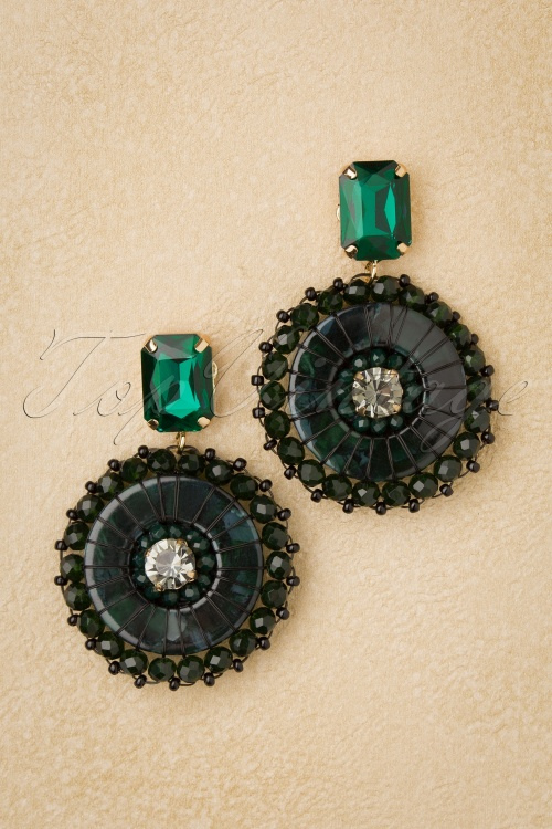 Glamfemme 31317 Earrings Gold Green 20190717 003 W