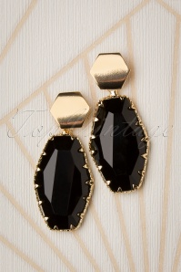 60s Leila Earrings in Black