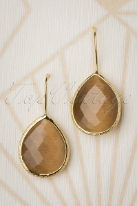 Glamfemme 50s Lavina Stone Drop Earrings in Mocca