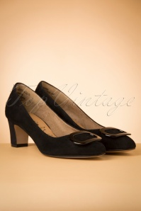 60s Chloe Suede Pumps in Black