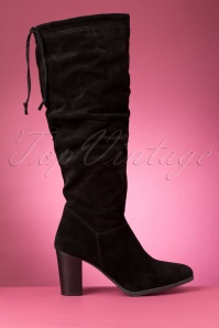Tamaris 70s Maze Suede Boots in Black