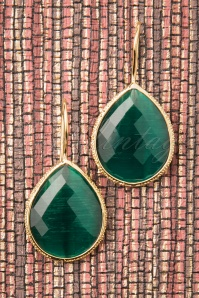 50s Lavina Stone Drop Earrings in Emerald