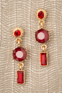 50s Adelaide Earrings in Red and Gold