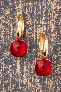 Eleanor Earrings Années 50 en Rouge et Doré