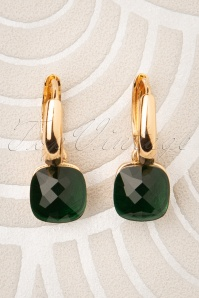 50s Eleanor Earrings in Green and Gold