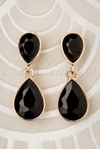 Constance Diamond Earrings Années 50 en Noir