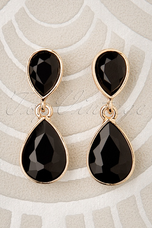 Glammfemme 31312 Earring Black Gold Drop 20190718 000001 W