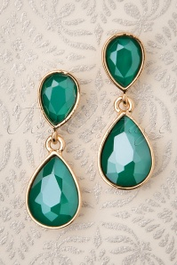 50s Constance Diamond Earrings in Sea Green