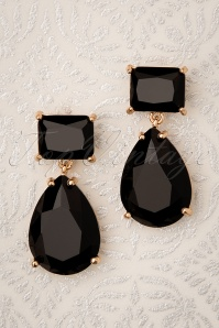 50s Beverly Diamond Earrings in Black