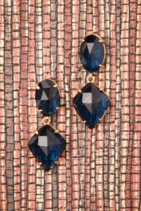Bernice Diamond Earrings Années 50 en Bleu
