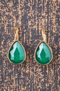 50s Darlene Diamond Drop Earrings in Sea Green