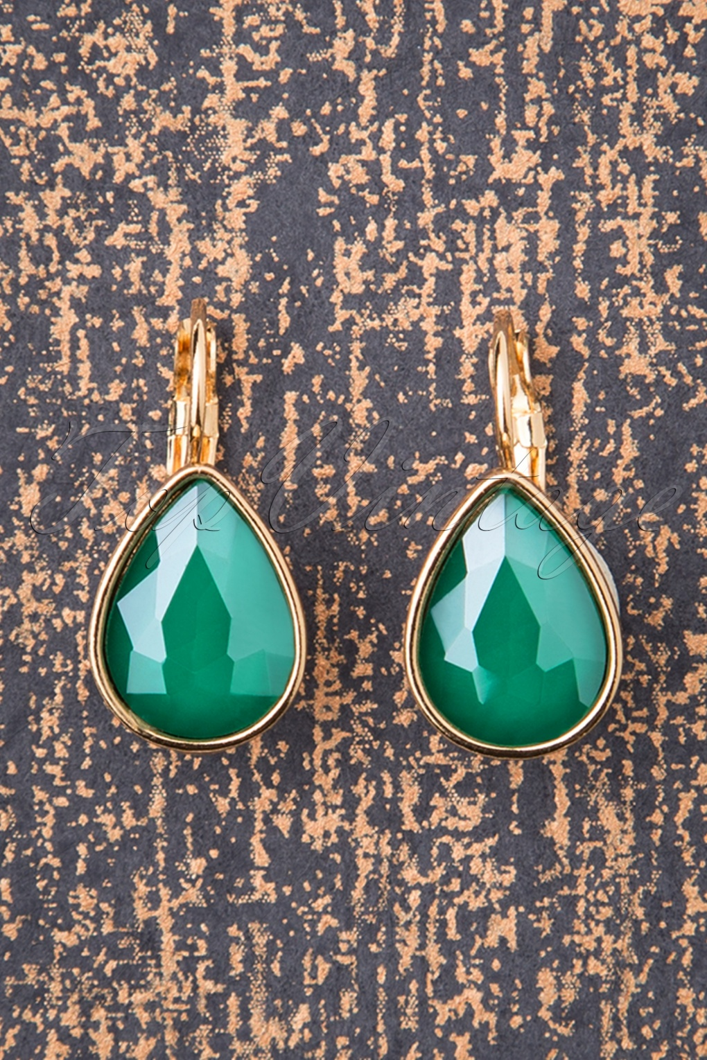 Vintage Style Jewelry, Retro Jewelry 50s Darlene Diamond Drop Earrings in Sea Green £8.84 AT vintagedancer.com