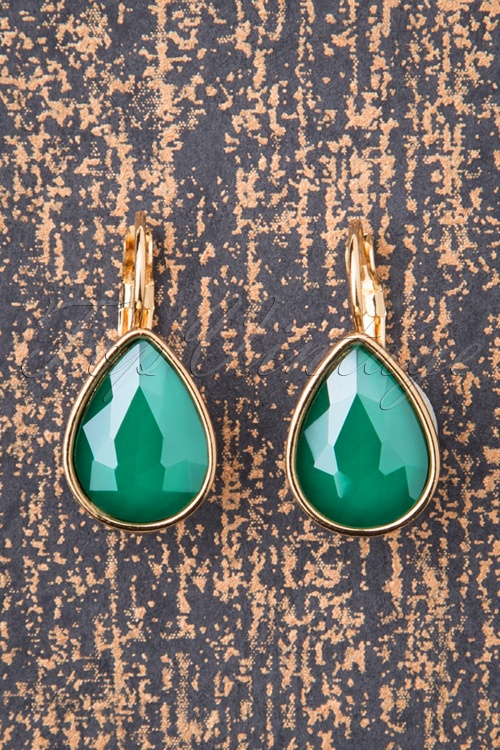 Glammfemme 31296 Earring Green Gold Drop 20190718 0003 W