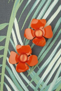 60s Marigold Flower Earrings in Orange