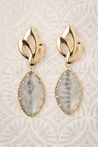 Glammfemme 31307 Earring Grey Gold Oval 20190718 000006W