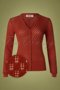 60s Don't Go Lose It Baby Cardigan in Rust Orange